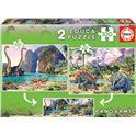 Puzzle 2x100 dino world - 04015620