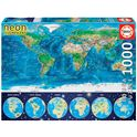Puzzle 1000 mapamundi físico neón - 04016760