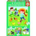 Puzzle progr.animales granja 6+9+12+ - 04017145