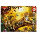 Puzzle 500 leopardo con sus cachorros - 04017736