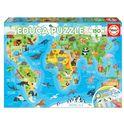 Puzzle 150 mapamundi animales - 04018115
