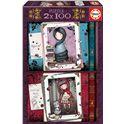 Puzzle 2x100 little red riding hood + rapunzel go - 04017822